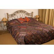 Dark Shade Bed Spread With Marvelous Patchwork
